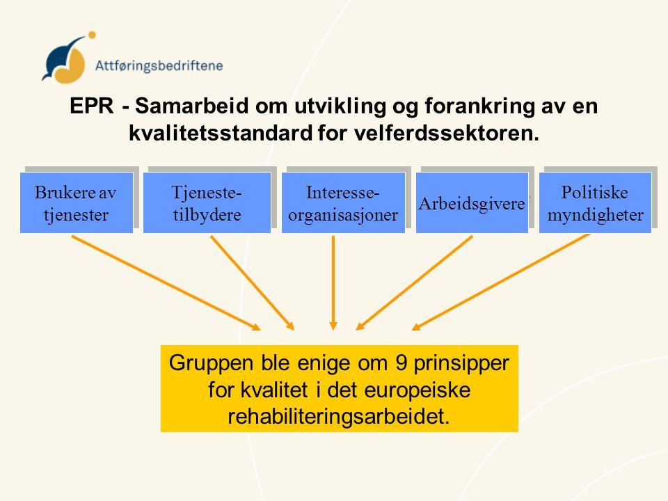 Brukere av tjenester Tjeneste- tilbydere Interesse- organisasjoner Arbeidsgivere Politiske myndigheter EPR - Samarbeid om utvikling og forankring av e