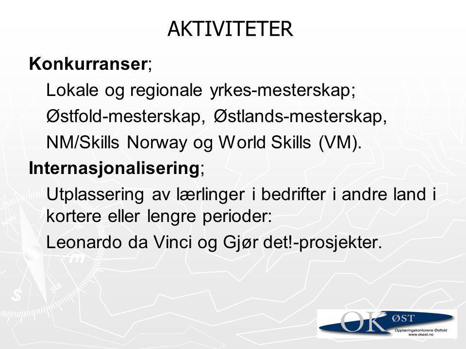 Konkurranser; Lokale og regionale yrkes-mesterskap; Østfold-mesterskap, Østlands-mesterskap, NM/Skills Norway og World Skills (VM). Internasjonaliseri