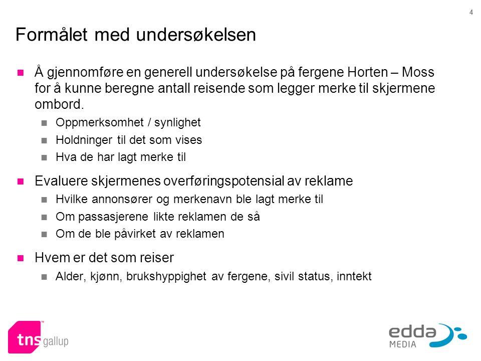 4 Formålet med undersøkelsen  Å gjennomføre en generell undersøkelse på fergene Horten – Moss for å kunne beregne antall reisende som legger merke ti