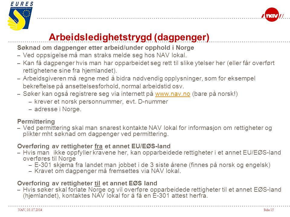 NAV, 03.07.2014Side 15 Arbeidsledighetstrygd (dagpenger) Søknad om dagpenger etter arbeid/under opphold i Norge – Ved oppsigelse må man straks melde s