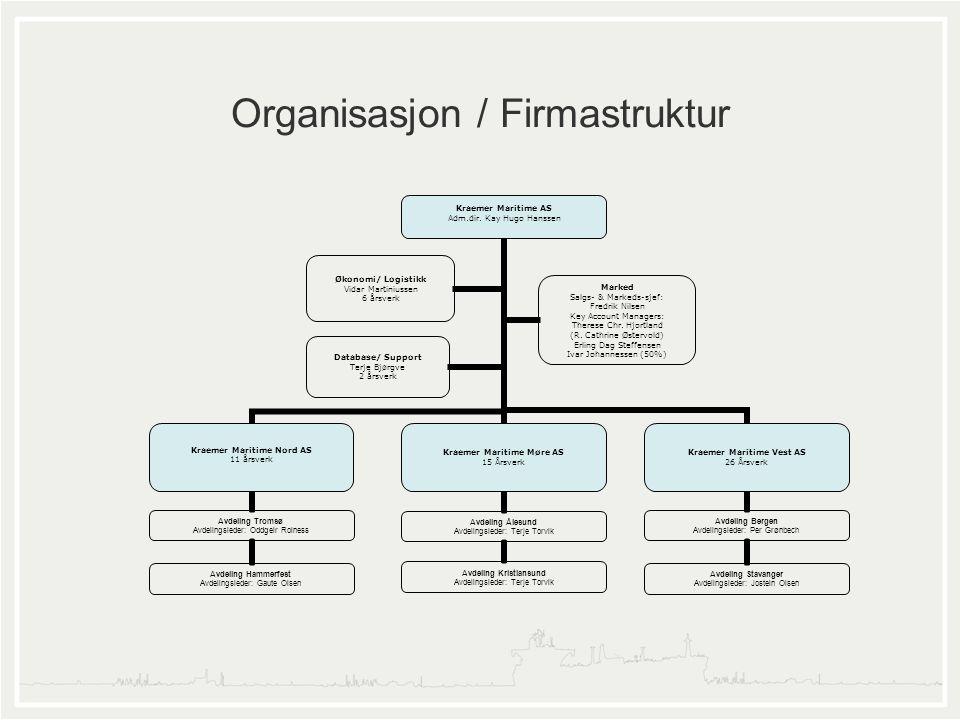 Organisasjon / Firmastruktur Kraemer Maritime AS Adm.dir. Kay Hugo Hanssen Kraemer Maritime Nord AS 11 årsverk Avdeling Tromsø Avdelingsleder: Oddgeir