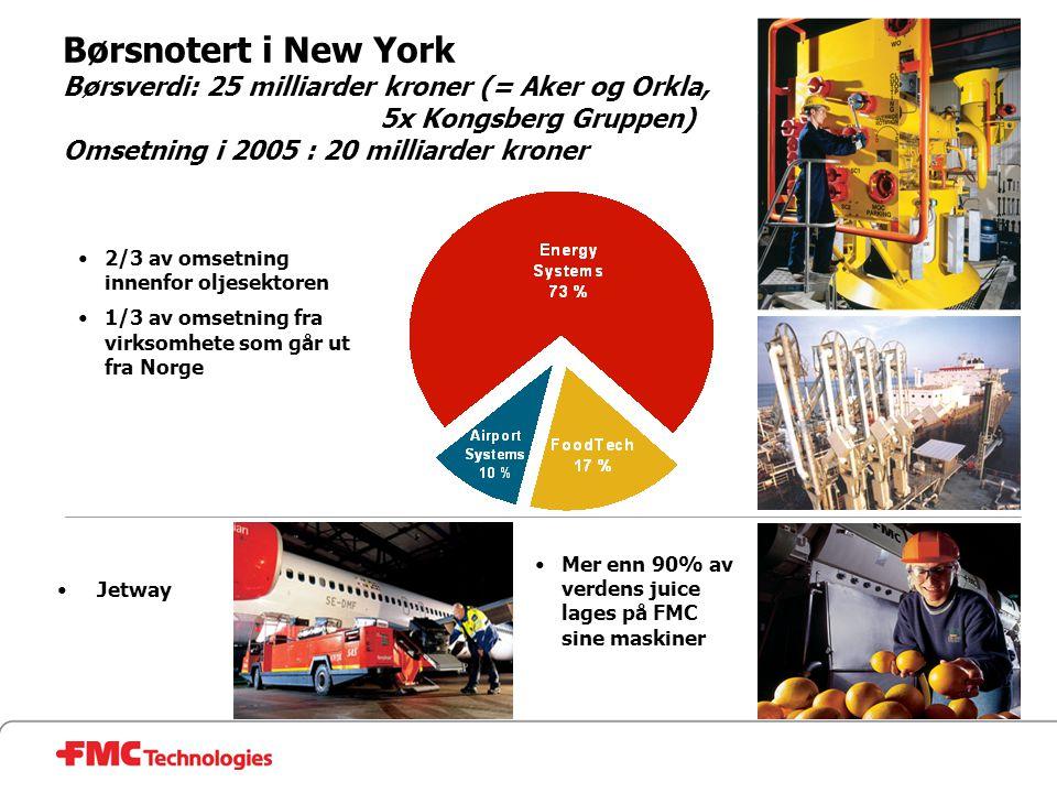 •Mer enn 90% av verdens juice lages på FMC sine maskiner •Jetway •2/3 av omsetning innenfor oljesektoren •1/3 av omsetning fra virksomhete som går ut