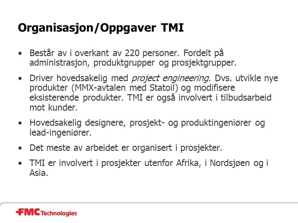 Organisasjon/Oppgaver TMI •Består av i overkant av 220 personer. Fordelt på administrasjon, produktgrupper og prosjektgrupper. •Driver hovedsakelig me