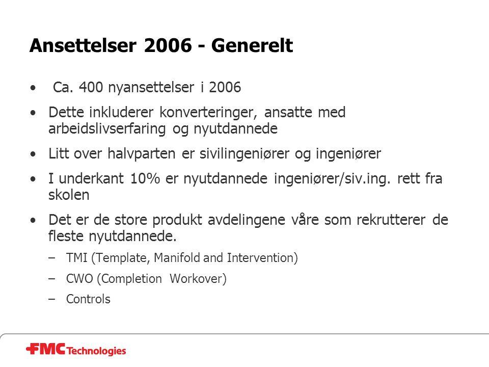 Ansettelser 2006 - Generelt • Ca. 400 nyansettelser i 2006 •Dette inkluderer konverteringer, ansatte med arbeidslivserfaring og nyutdannede •Litt over