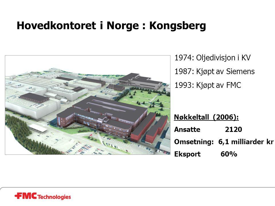 Hovedkontoret i Norge : Kongsberg 1974: Oljedivisjon i KV 1987: Kjøpt av Siemens 1993: Kjøpt av FMC Nøkkeltall (2006): Ansatte 2120 Omsetning: 6,1 mil