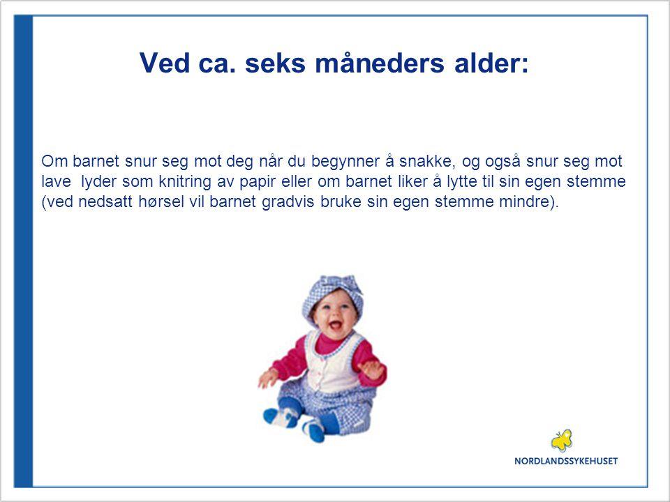 Ved ca. seks måneders alder: Om barnet snur seg mot deg når du begynner å snakke, og også snur seg mot lave lyder som knitring av papir eller om barne