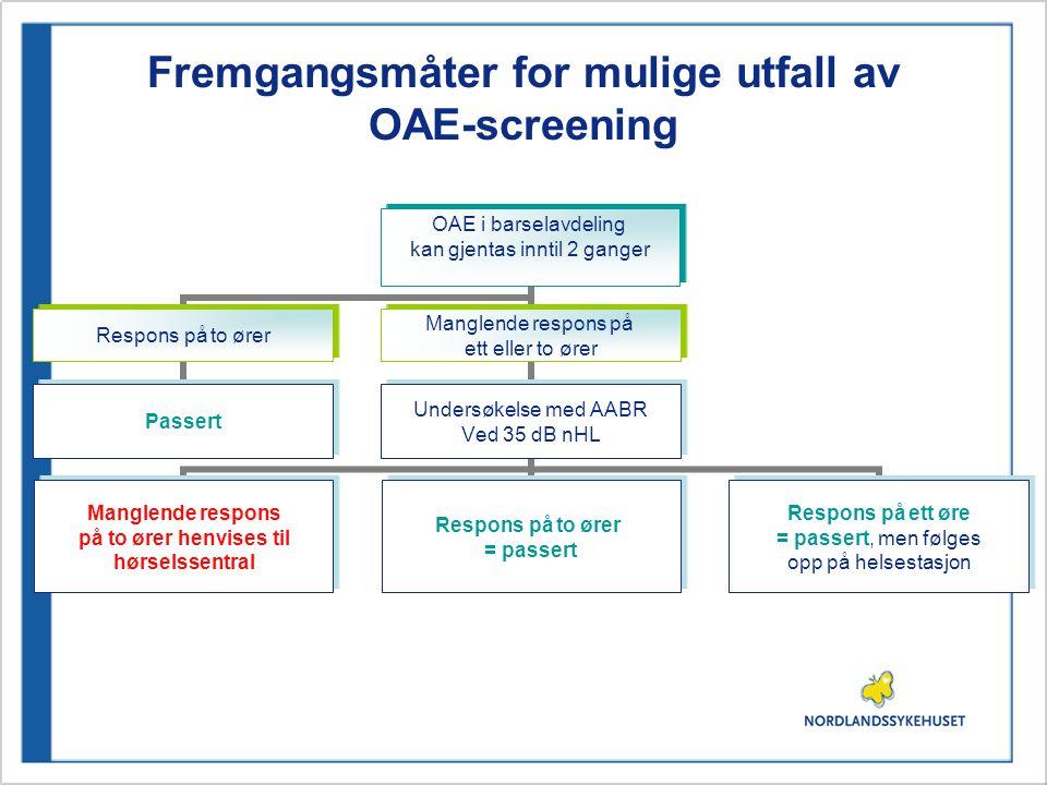 Fremgangsmåter for mulige utfall av OAE-screening OAE i barselavdeling kan gjentas inntil 2 ganger Respons på to ører Passert Manglende respons på ett