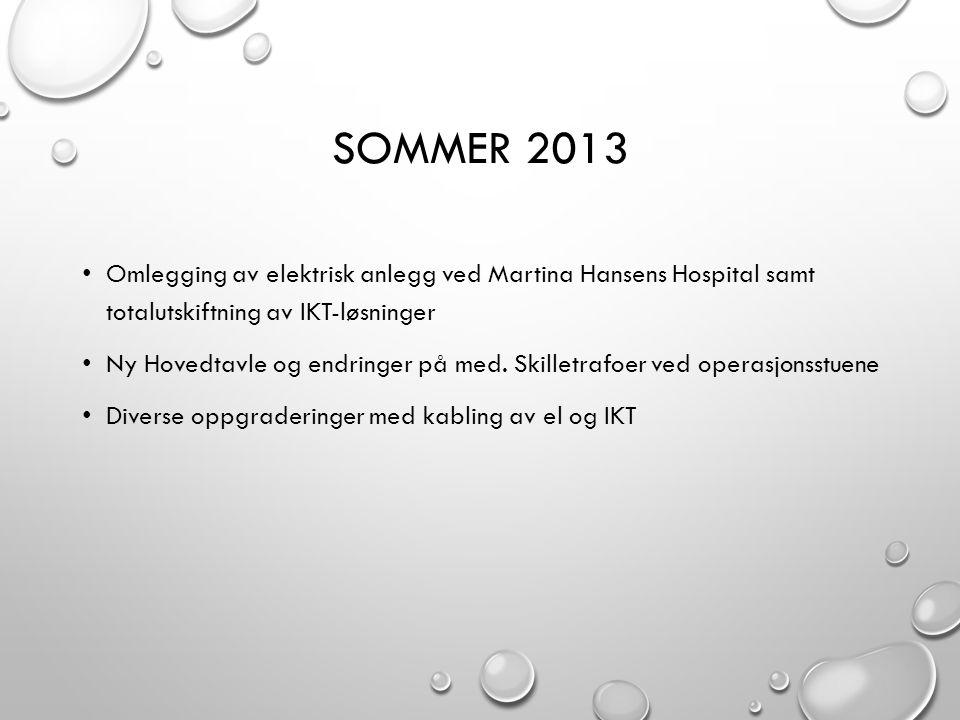 SOMMER 2013 • Omlegging av elektrisk anlegg ved Martina Hansens Hospital samt totalutskiftning av IKT-løsninger • Ny Hovedtavle og endringer på med. S