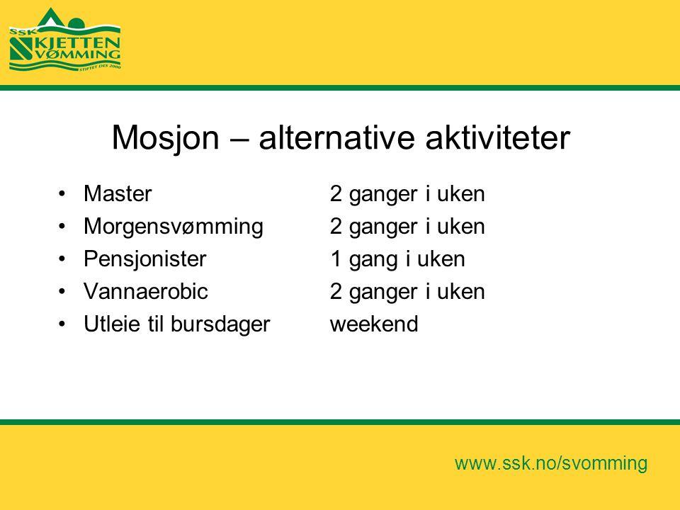 www.ssk.no/svomming Mosjon – alternative aktiviteter •Master 2 ganger i uken •Morgensvømming 2 ganger i uken •Pensjonister 1 gang i uken •Vannaerobic