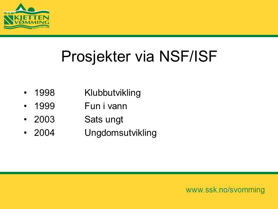 www.ssk.no/svomming Prosjekter via NSF/ISF •1998 Klubbutvikling •1999 Fun i vann •2003 Sats ungt •2004 Ungdomsutvikling
