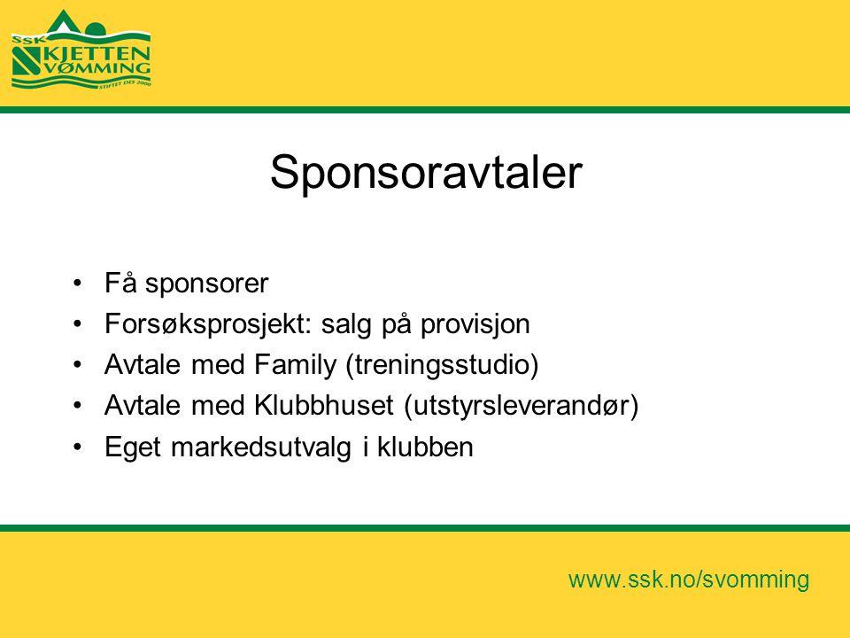 www.ssk.no/svomming Sponsoravtaler •Få sponsorer •Forsøksprosjekt: salg på provisjon •Avtale med Family (treningsstudio) •Avtale med Klubbhuset (utsty