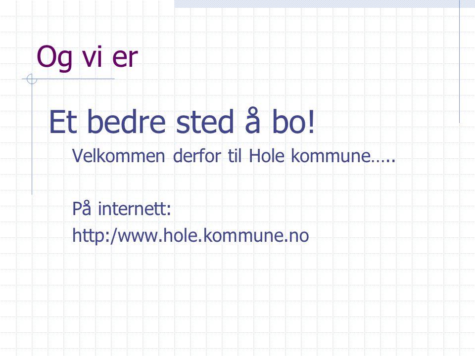 Og vi er Et bedre sted å bo.Velkommen derfor til Hole kommune…..