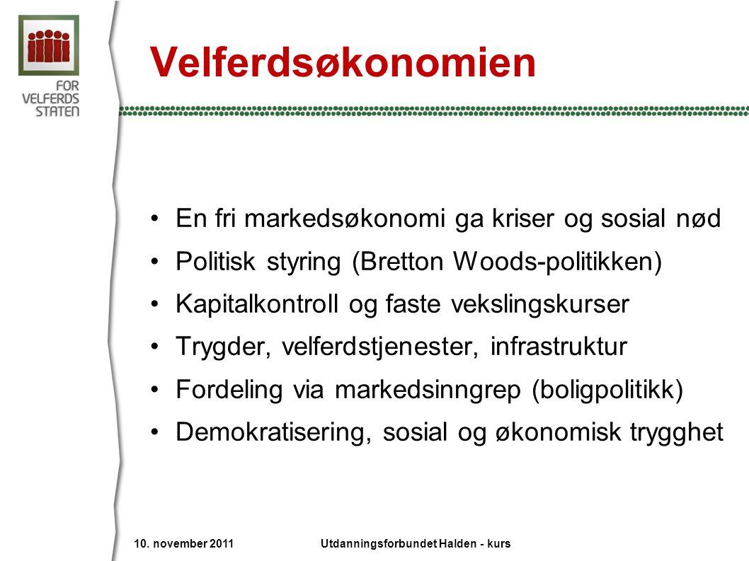 Velferdsøkonomien •En fri markedsøkonomi ga kriser og sosial nød •Politisk styring (Bretton Woods-politikken) •Kapitalkontroll og faste vekslingskurse