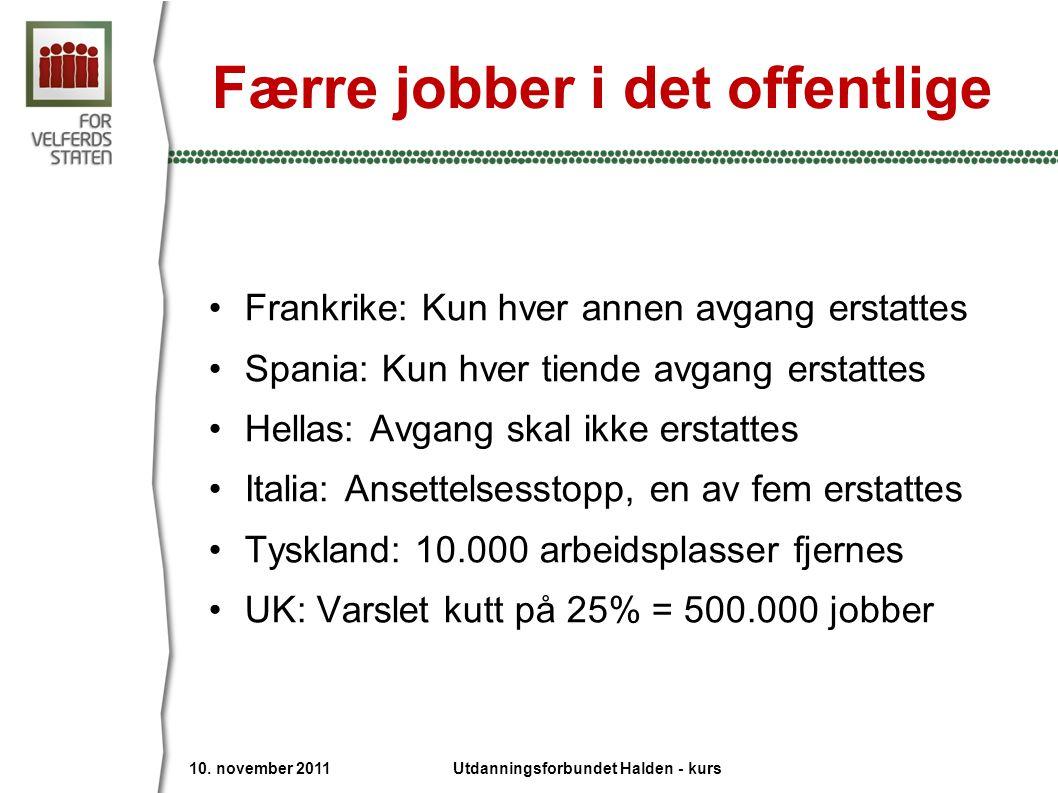 Færre jobber i det offentlige •Frankrike: Kun hver annen avgang erstattes •Spania: Kun hver tiende avgang erstattes •Hellas: Avgang skal ikke erstatte