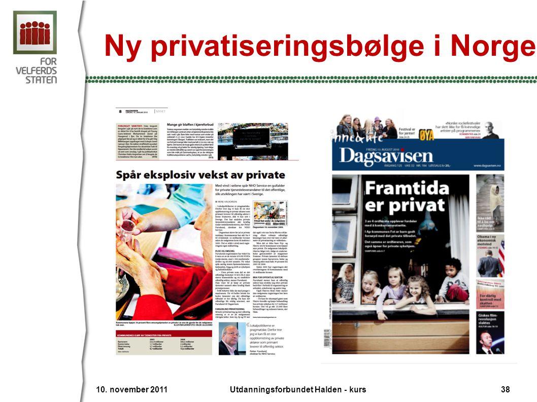 10. november 2011 38Utdanningsforbundet Halden - kurs Ny privatiseringsbølge i Norge