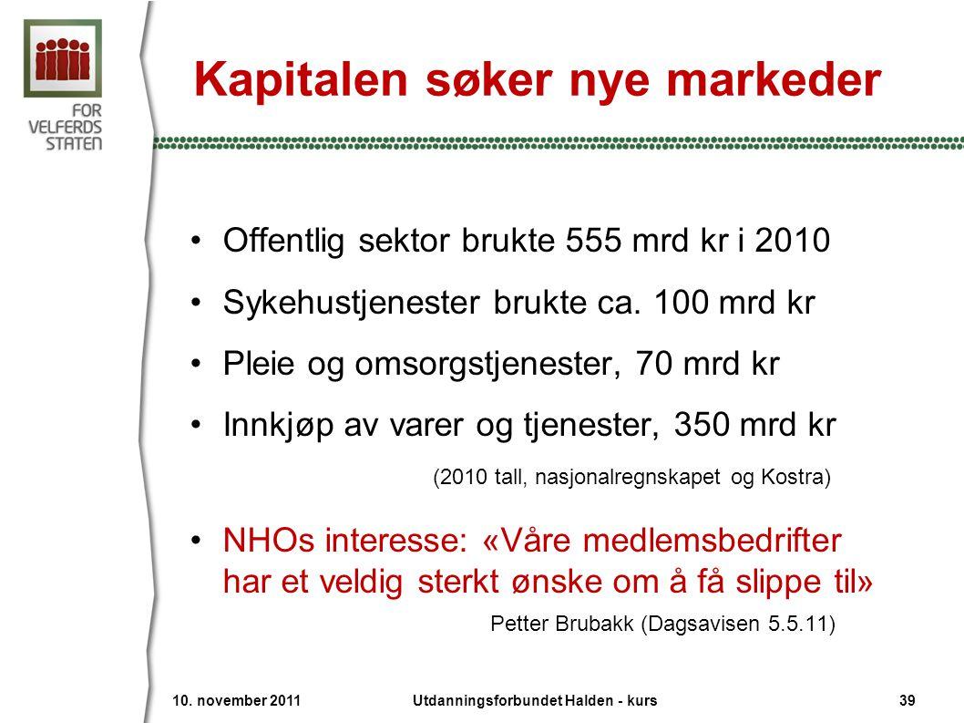 Kapitalen søker nye markeder •Offentlig sektor brukte 555 mrd kr i 2010 •Sykehustjenester brukte ca. 100 mrd kr •Pleie og omsorgstjenester, 70 mrd kr