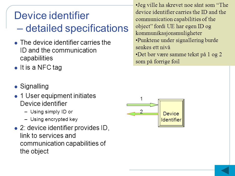 Device identifier – detailed specifications l The device identifier carries the ID and the communication capabilities l It is a NFC tag l Signalling l