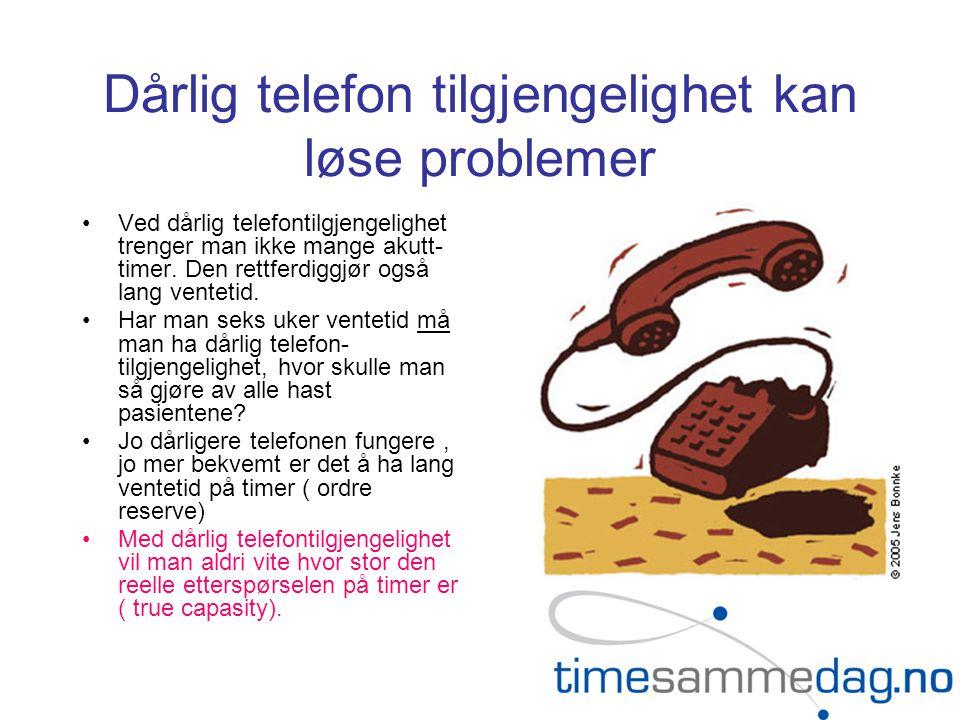 Dårlig telefon tilgjengelighet kan løse problemer •Ved dårlig telefontilgjengelighet trenger man ikke mange akutt- timer. Den rettferdiggjør også lang