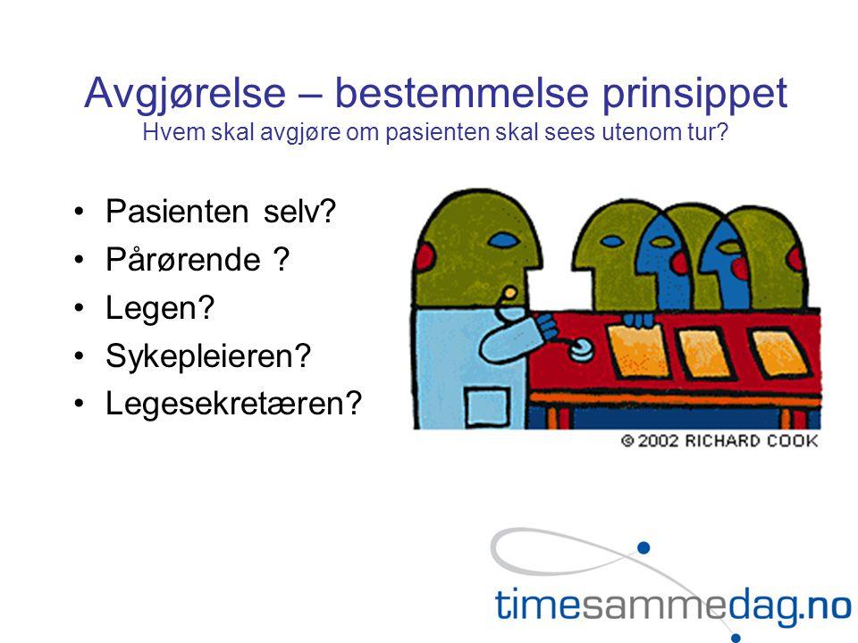 Avgjørelse – bestemmelse prinsippet Hvem skal avgjøre om pasienten skal sees utenom tur? •Pasienten selv? •Pårørende ? •Legen? •Sykepleieren? •Legesek
