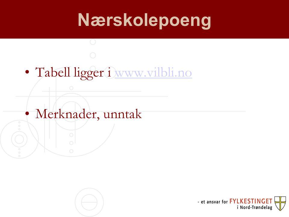 Nærskolepoeng •Tabell ligger i www.vilbli.nowww.vilbli.no •Merknader, unntak