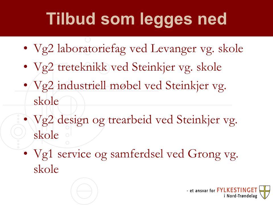 Tilbud som legges ned •Vg2 laboratoriefag ved Levanger vg.