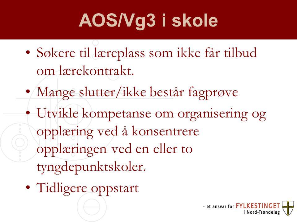 AOS/Vg3 i skole •Søkere til læreplass som ikke får tilbud om lærekontrakt.