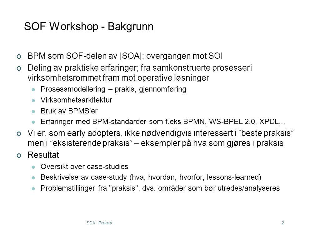 SOA i Praksis2 SOF Workshop - Bakgrunn BPM som SOF-delen av |SOA|; overgangen mot SOI Deling av praktiske erfaringer; fra samkonstruerte prosesser i v