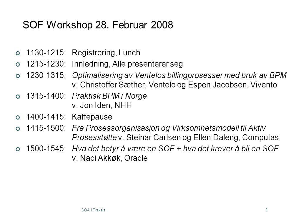 SOA i Praksis3 SOF Workshop 28. Februar 2008 1130-1215:Registrering, Lunch 1215-1230:Innledning, Alle presenterer seg 1230-1315:Optimalisering av Vent