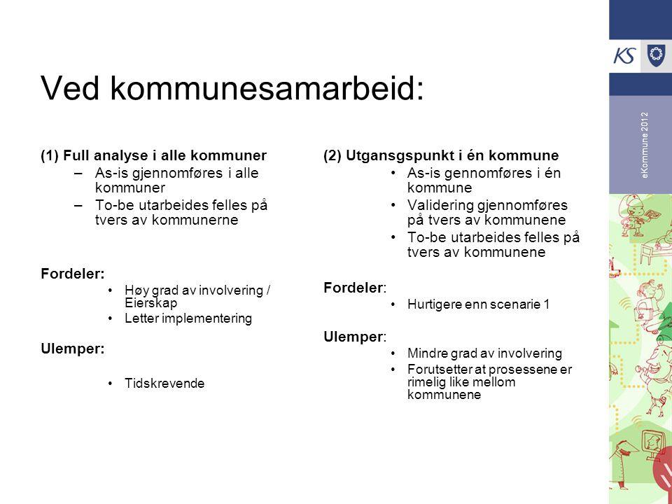 eKommune 2012 Ved kommunesamarbeid: (1) Full analyse i alle kommuner –As-is gjennomføres i alle kommuner –To-be utarbeides felles på tvers av kommuner