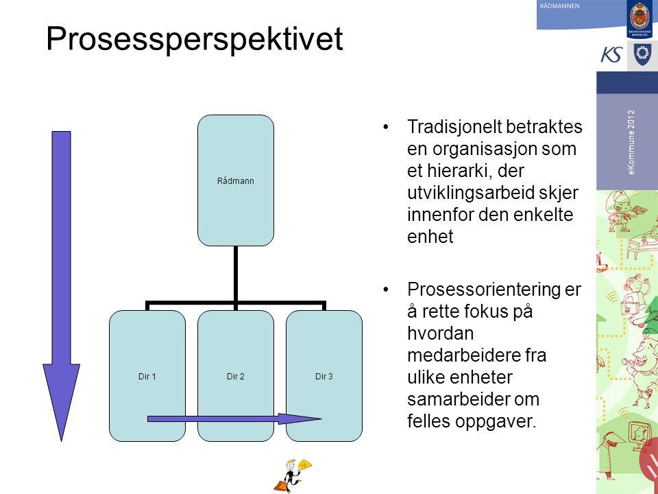 eKommune 2012 Prosessperspektivet •Tradisjonelt betraktes en organisasjon som et hierarki, der utviklingsarbeid skjer innenfor den enkelte enhet •Pros