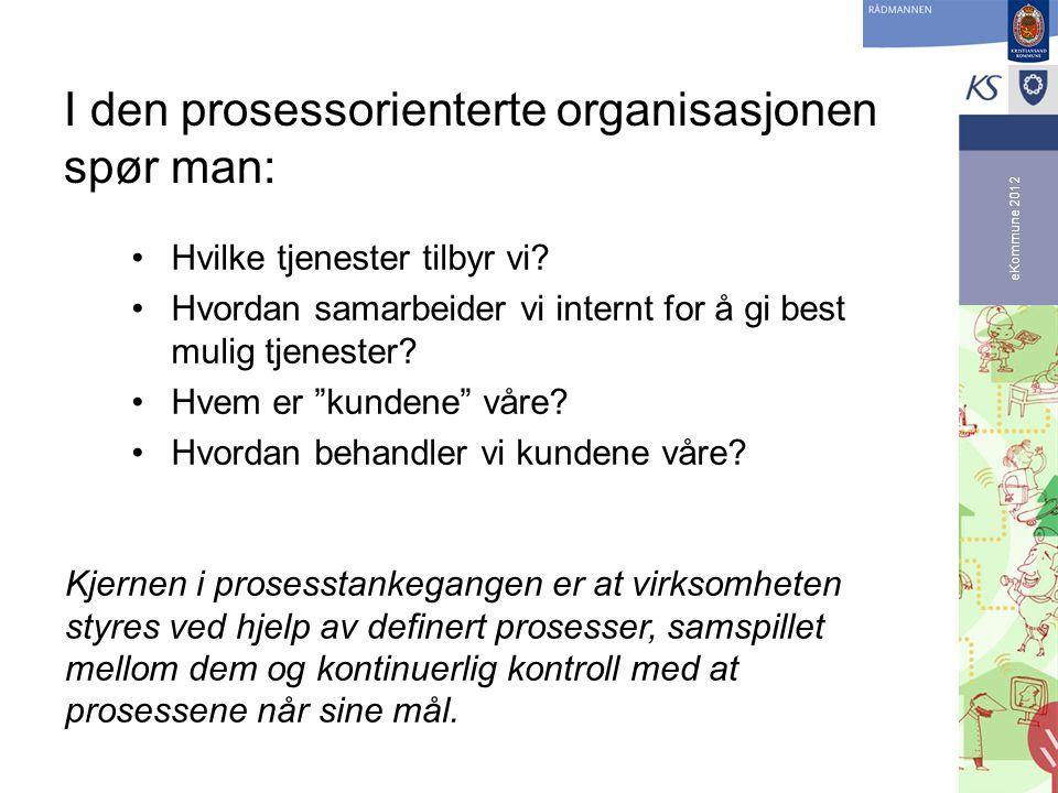 eKommune 2012 I den prosessorienterte organisasjonen spør man: •Hvilke tjenester tilbyr vi? •Hvordan samarbeider vi internt for å gi best mulig tjenes