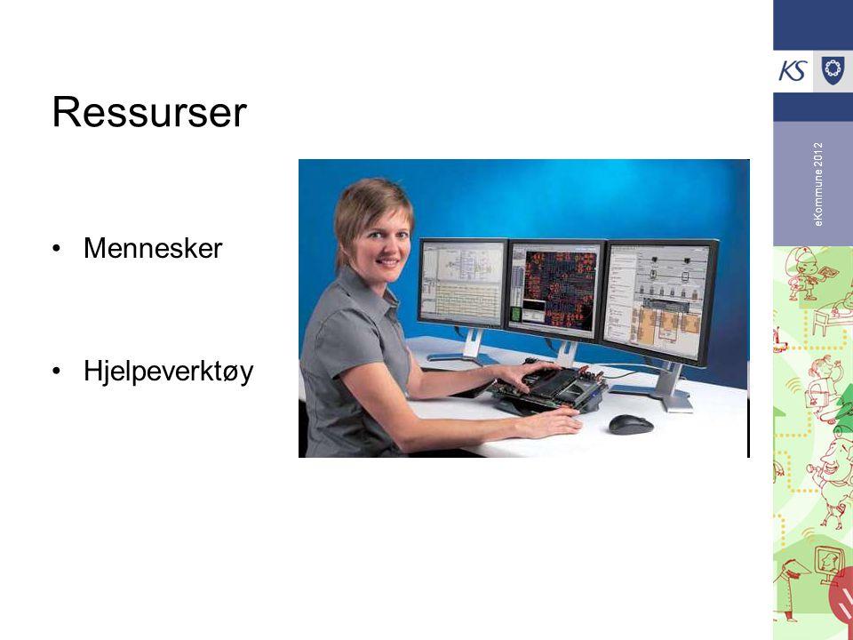 eKommune 2012 Ressurser •Mennesker •Hjelpeverktøy