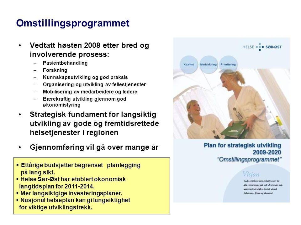 Omstillingsprogrammet •Vedtatt høsten 2008 etter bred og involverende prosess: –Pasientbehandling –Forskning –Kunnskapsutvikling og god praksis –Organ