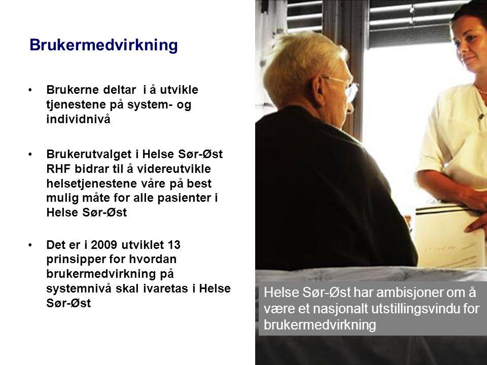 Brukermedvirkning •Brukerne deltar i å utvikle tjenestene på system- og individnivå •Brukerutvalget i Helse Sør-Øst RHF bidrar til å videreutvikle hel