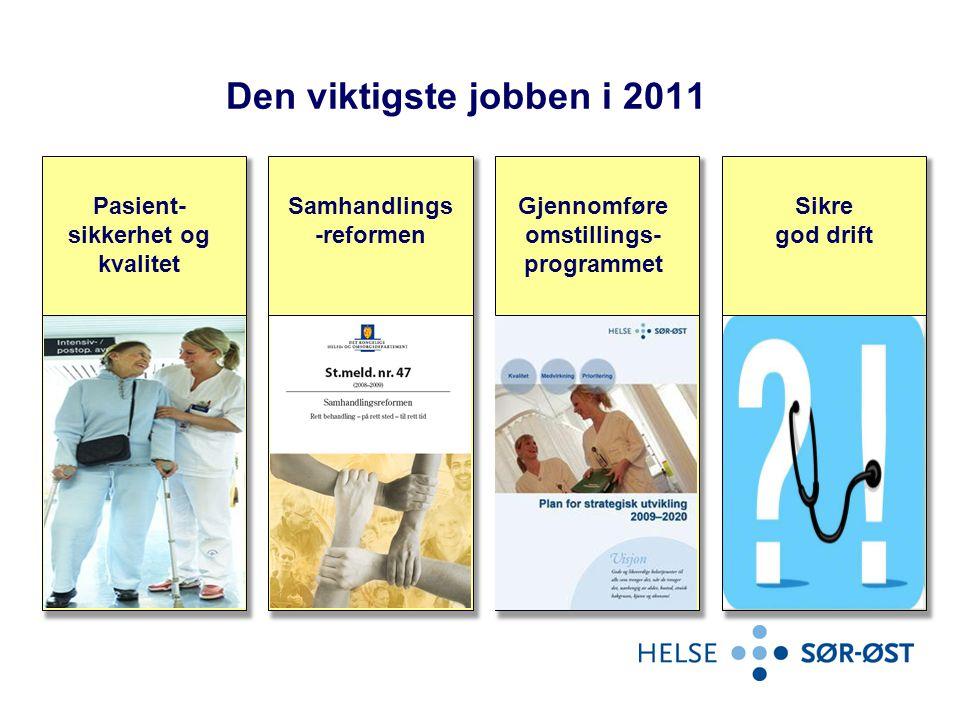Den viktigste jobben i 2011 Pasient- sikkerhet og kvalitet Samhandlings -reformen Gjennomføre omstillings- programmet Sikre god drift
