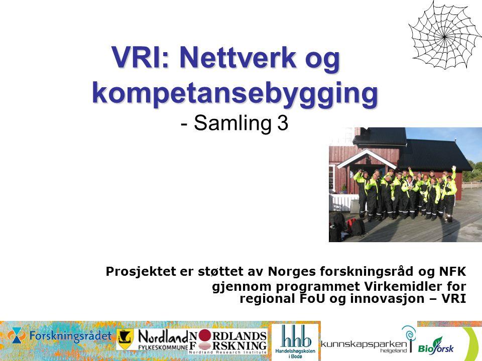 Prosjektet er støttet av Norges forskningsråd og NFK gjennom programmet Virkemidler for regional FoU og innovasjon – VRI VRI: Nettverk og kompetansebygging VRI: Nettverk og kompetansebygging - Samling 3