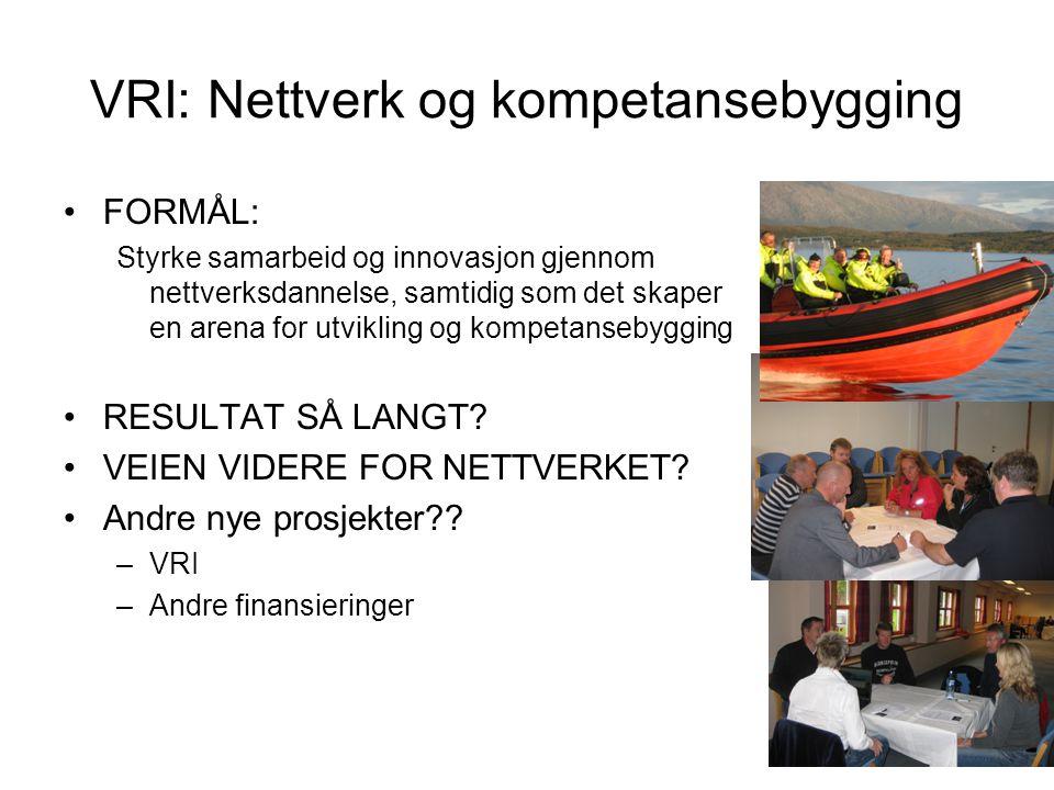 VRI: Nettverk og kompetansebygging •FORMÅL: Styrke samarbeid og innovasjon gjennom nettverksdannelse, samtidig som det skaper en arena for utvikling og kompetansebygging •RESULTAT SÅ LANGT.