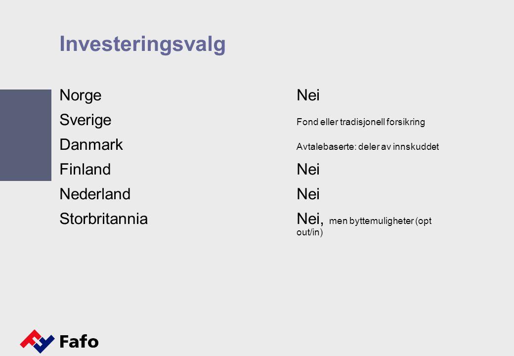 Investeringsvalg NorgeNei Sverige Fond eller tradisjonell forsikring Danmark Avtalebaserte: deler av innskuddet FinlandNei NederlandNei StorbritanniaN