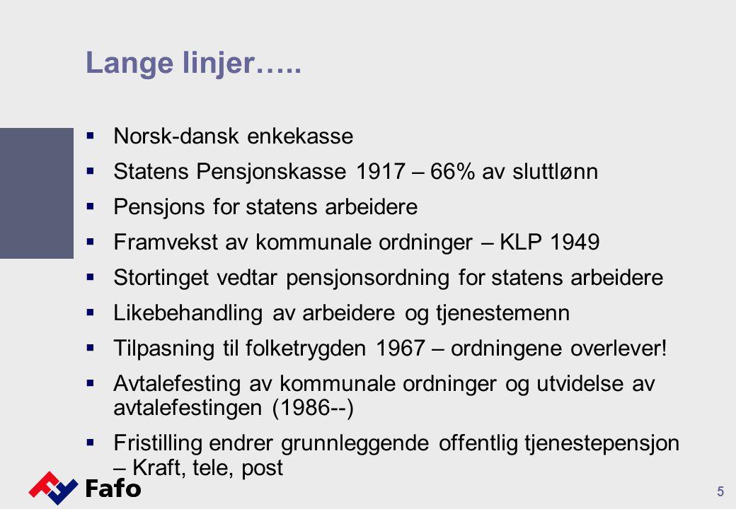 Lange linjer…..  Norsk-dansk enkekasse  Statens Pensjonskasse 1917 – 66% av sluttlønn  Pensjons for statens arbeidere  Framvekst av kommunale ordn