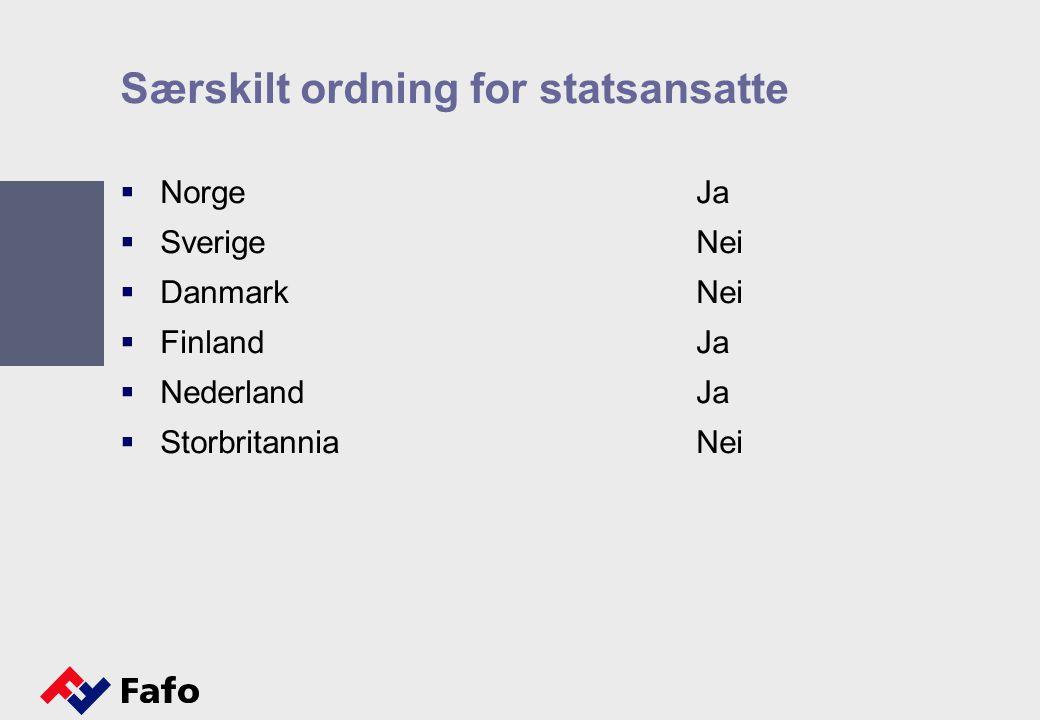Særskilt ordning for statsansatte  NorgeJa  SverigeNei  DanmarkNei  FinlandJa  NederlandJa  StorbritanniaNei