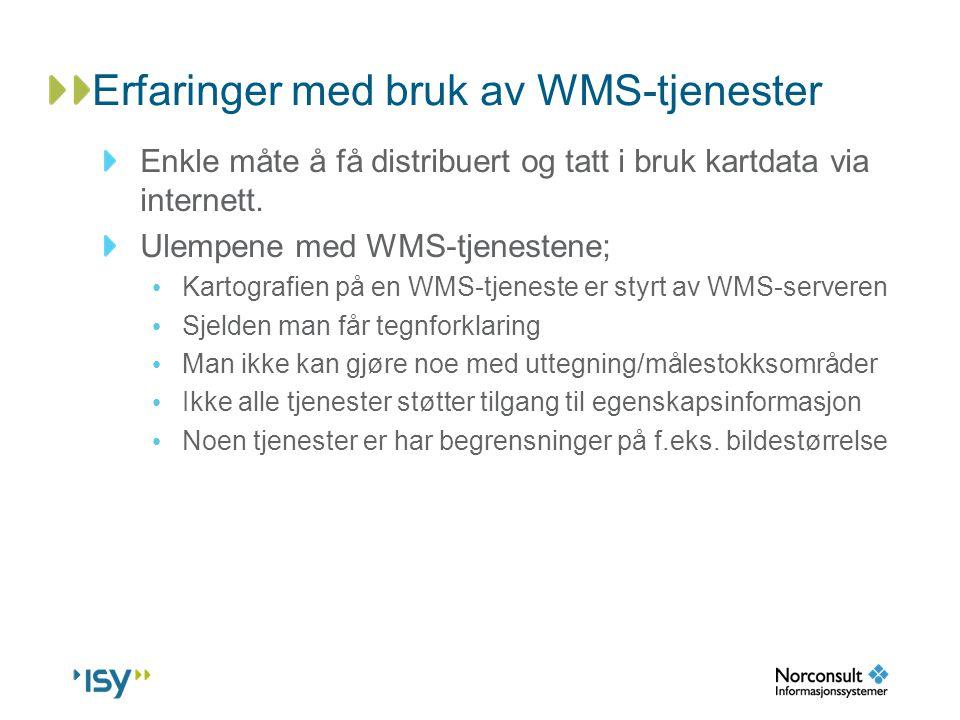 Erfaringer med bruk av WMS-tjenester Enkle måte å få distribuert og tatt i bruk kartdata via internett. Ulempene med WMS-tjenestene; • Kartografien på
