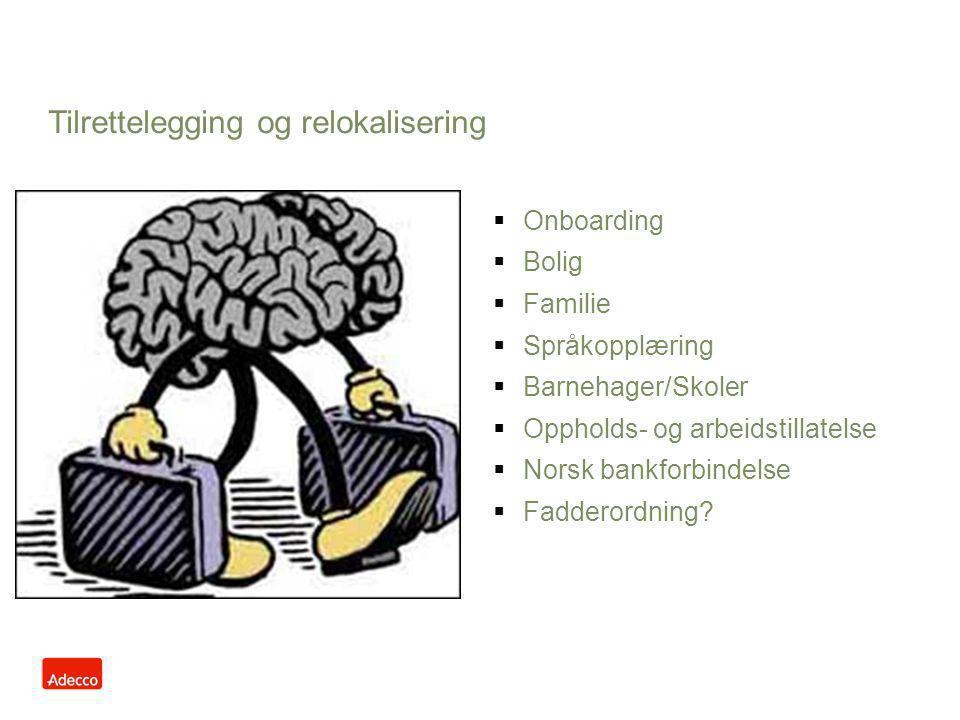 Tilrettelegging og relokalisering  Onboarding  Bolig  Familie  Språkopplæring  Barnehager/Skoler  Oppholds- og arbeidstillatelse  Norsk bankfor