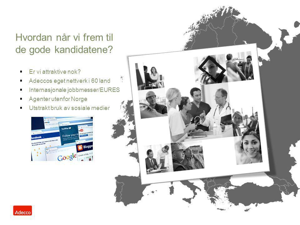  Er vi attraktive nok?  Adeccos eget nettverk i 60 land  Internasjonale jobbmesser/EURES  Agenter utenfor Norge  Utstrakt bruk av sosiale medier