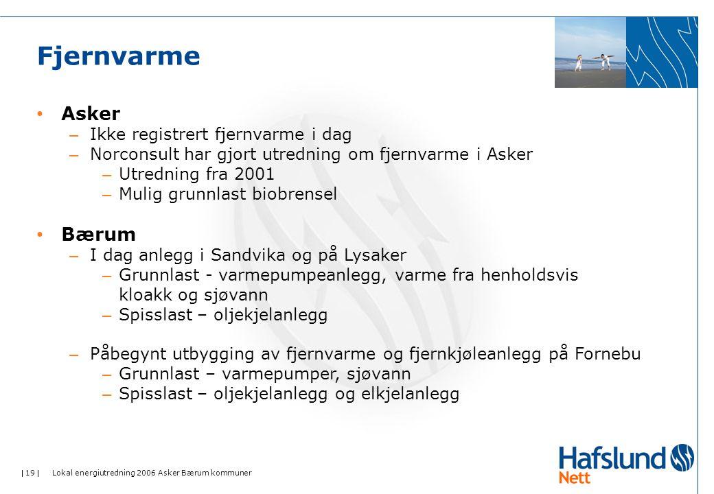  19  Lokal energiutredning 2006 Asker Bærum kommuner Fjernvarme • Asker – Ikke registrert fjernvarme i dag – Norconsult har gjort utredning om fjernvarme i Asker – Utredning fra 2001 – Mulig grunnlast biobrensel • Bærum – I dag anlegg i Sandvika og på Lysaker – Grunnlast - varmepumpeanlegg, varme fra henholdsvis kloakk og sjøvann – Spisslast – oljekjelanlegg – Påbegynt utbygging av fjernvarme og fjernkjøleanlegg på Fornebu – Grunnlast – varmepumper, sjøvann – Spisslast – oljekjelanlegg og elkjelanlegg