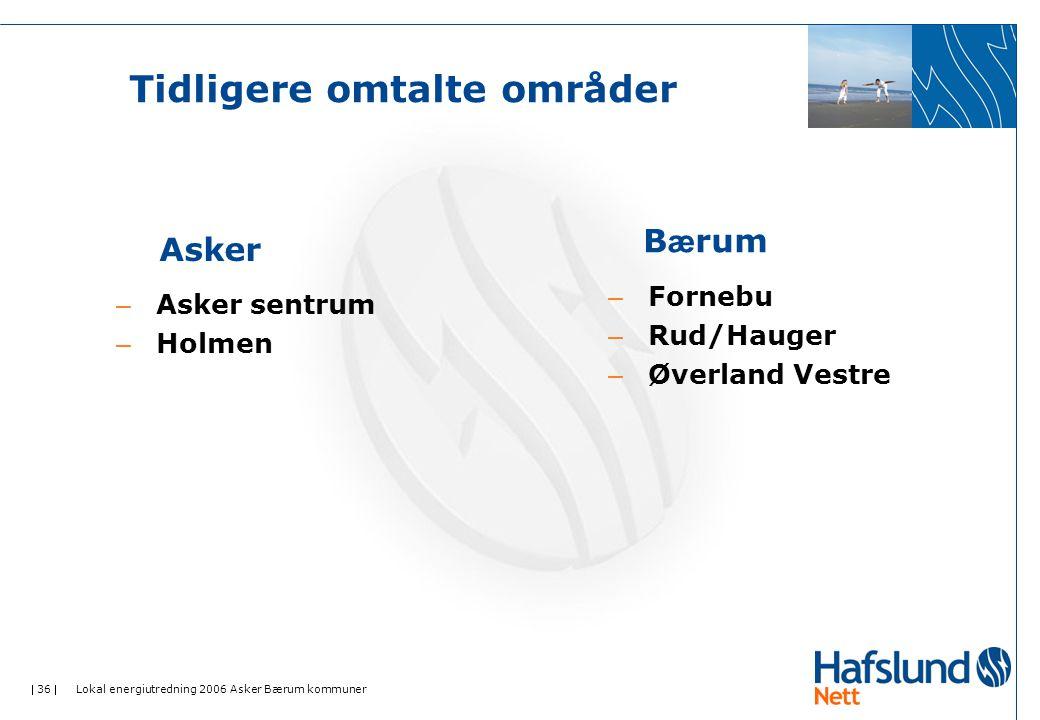  36  Lokal energiutredning 2006 Asker Bærum kommuner Tidligere omtalte områder – Asker sentrum – Holmen Asker B æ rum – Fornebu – Rud/Hauger – Øverland Vestre