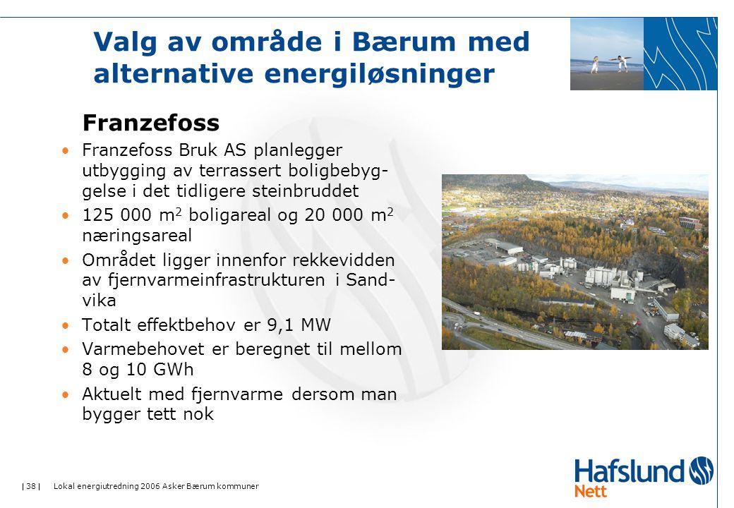 38  Lokal energiutredning 2006 Asker Bærum kommuner Valg av område i Bærum med alternative energiløsninger Franzefoss •Franzefoss Bruk AS planlegger utbygging av terrassert boligbebyg- gelse i det tidligere steinbruddet •125 000 m 2 boligareal og 20 000 m 2 næringsareal •Området ligger innenfor rekkevidden av fjernvarmeinfrastrukturen i Sand- vika •Totalt effektbehov er 9,1 MW •Varmebehovet er beregnet til mellom 8 og 10 GWh •Aktuelt med fjernvarme dersom man bygger tett nok