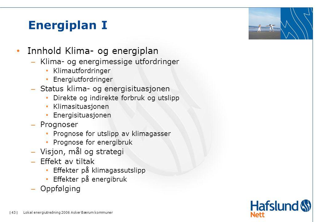  43  Lokal energiutredning 2006 Asker Bærum kommuner Energiplan I • Innhold Klima- og energiplan – Klima- og energimessige utfordringer • Klimautfordringer • Energiutfordringer – Status klima- og energisituasjonen • Direkte og indirekte forbruk og utslipp • Klimasituasjonen • Energisituasjonen – Prognoser • Prognose for utslipp av klimagasser • Prognose for energibruk – Visjon, mål og strategi – Effekt av tiltak • Effekter på klimagassutslipp • Effekter på energibruk – Oppfølging