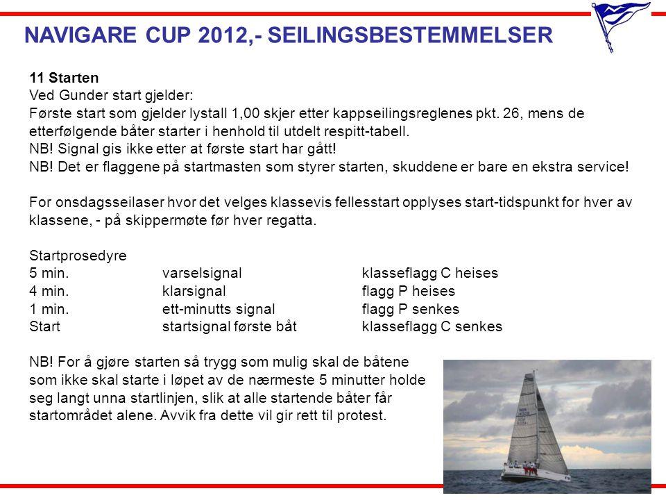 NAVIGARE CUP 2012,- SEILINGSBESTEMMELSER 11 Starten Ved Gunder start gjelder: Første start som gjelder lystall 1,00 skjer etter kappseilingsreglenes p