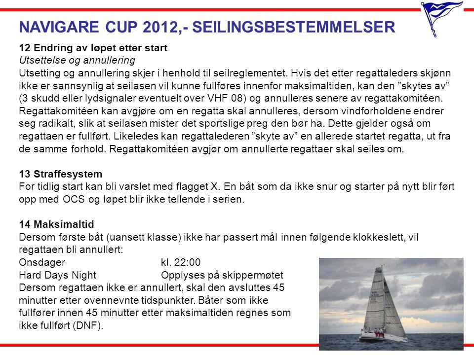 NAVIGARE CUP 2012,- SEILINGSBESTEMMELSER 12 Endring av løpet etter start Utsettelse og annullering Utsetting og annullering skjer i henhold til seilre