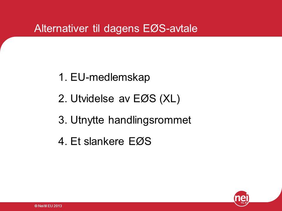 © Nei til EU 2013 Alternativer til dagens EØS-avtale 1. EU-medlemskap 2. Utvidelse av EØS (XL) 3. Utnytte handlingsrommet 4. Et slankere EØS